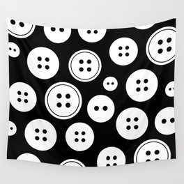 Black and White Buttons Pattern Wall Tapestry