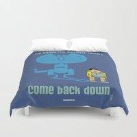jurassic park Duvet Covers featuring JURASSIC PARK : Nerdy Nedry by SimonCARUSO.com