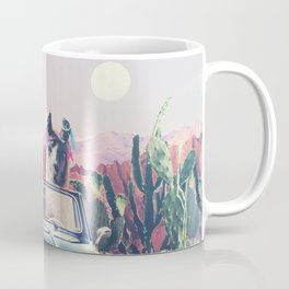 Llamas on the road Coffee Mug