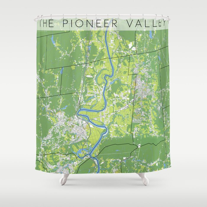 Pioneer Valley map Shower Curtain