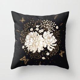 Hand drawn vintage bouquet flower on dark background illustration Throw Pillow