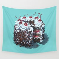 dessert Wall Tapestries featuring Dessert : Black Forest Cake by Jody Edwards Art