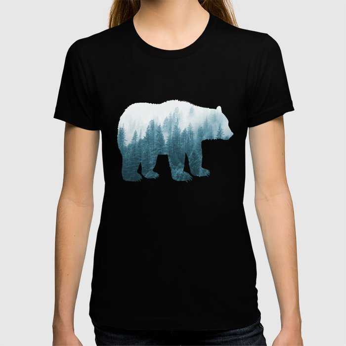 Misty Forest Bear - Turqoise T-shirt