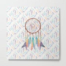 Gypsy Dreams Dreamcatcher on White Metal Print