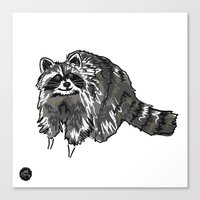 racoon Canvas Prints featuring Racoon by HelloDarlingDesign