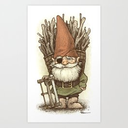 Gnome Woodcutter Art Print