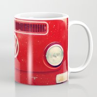 vw bus Mugs featuring Red VW Bus by Anna Dykema Photography