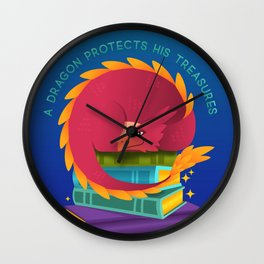 A Dragon Protects His Treasure blue version Wall Clock