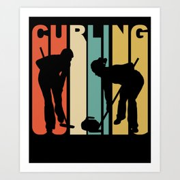 Retro 1970's Style Curlers Silhouette Curling Art Print