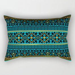 Mexican Style pattern - black, teal and gold Rectangular Pillow