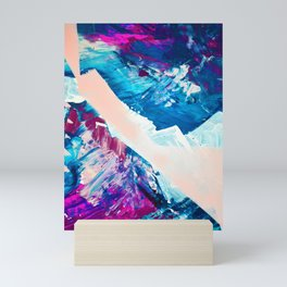 Window Seat: A vibrant abstract painting in pinks and blues by Alyssa Hamilton Art Mini Art Print