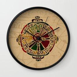 Colorful Hunab Ku Mayan symbol on cotton Wall Clock