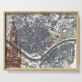 Seville city map engraving Serving Tray