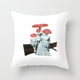 amanita muscaria with children Throw Pillow