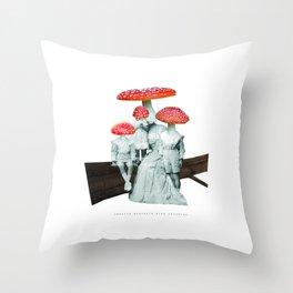 amanita muscaria with children Throw Pillow