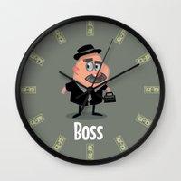 boss Wall Clocks featuring Boss by Glenn Melenhorst