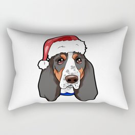 Basset Hound Dog Christmas Hat Rectangular Pillow