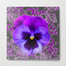 SPRING PURPLE PANSY FLOWER &  DELICATE PATTERN Metal Print