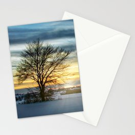 A Lonely Tree In The Winter Field Stationery Cards
