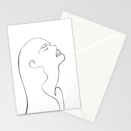 One line lady face Stationery Cards
