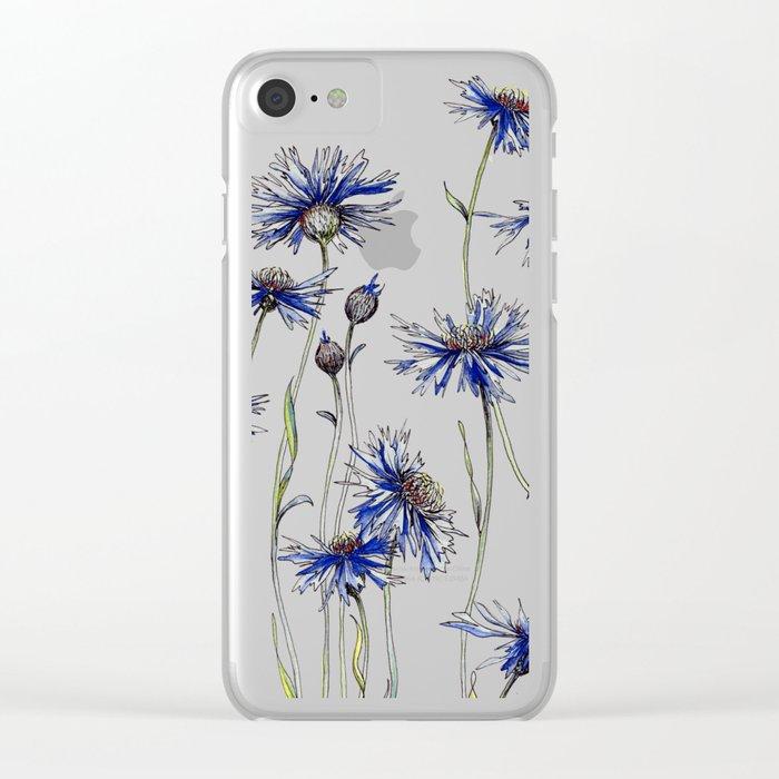 Blue Cornflowers, Illustration Clear iPhone Case
