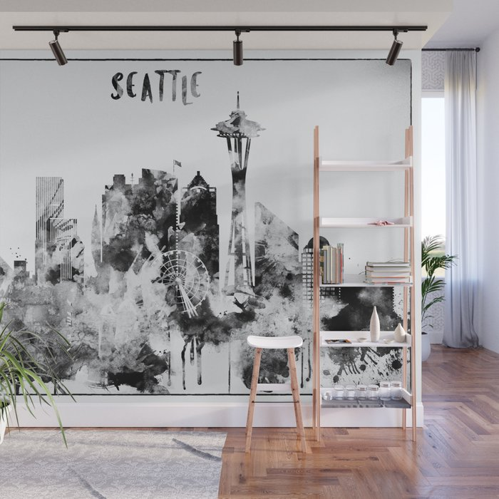 Black And White Seattle City Skyline Wall Mural by dimdom