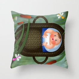 Baby Moses on the River Nile Throw Pillow