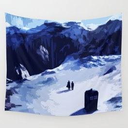 Tardis Art At The Snow Mountain Wall Tapestry