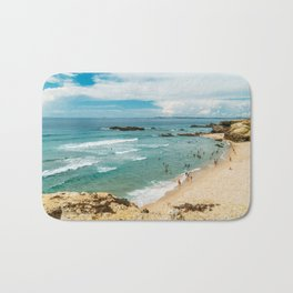 People Having Fun On Beach, Algarve Lagos Portugal, Tourists In Summer Vacation, Wall Art Poster Bath Mat