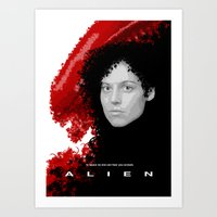 alien Art Prints featuring Alien by TheRandomFactory