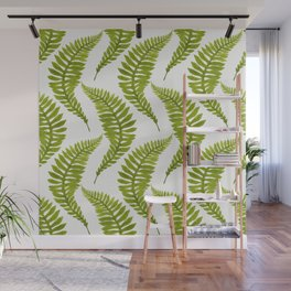 Bright green watercolor fern pattern Wall Mural