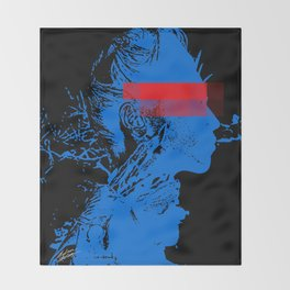 Black Blue Red Contemporary Editorial Model Pop Art Throw Blanket