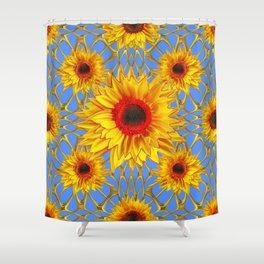 Baby Blue Golden Sunflowers Web Design Art Shower Curtain
