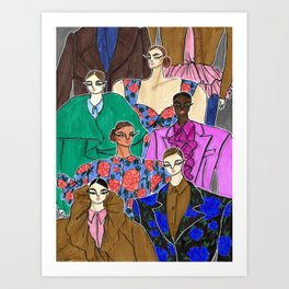 Delpozo Girls in Fall 2019 – Original Fashion art, Fashion Illustration, Fashion wall art Art Print