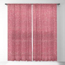 Red Glitter Sheer Curtain
