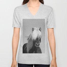 Portrait of a Horse in Scotish Highlands Unisex V-Neck