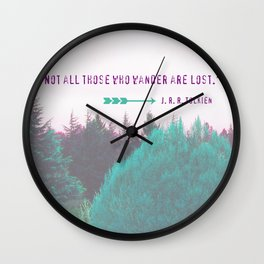 """Dreamland Forest - J. R. R. Tolkien Quote - """"Not all those who wander are lost."""" Wall Clock"""