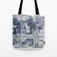 blueprint Tote Bags featuring Vigilante Blueprint by Matthew Dunn