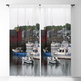 Rockport Inner Harbor With Lobster Fleet And Motif No.1 Blackout Curtain