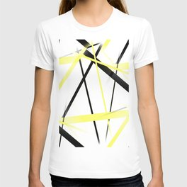 Criss Crossed Lemon Yellow and Black Stripes on White T-shirt