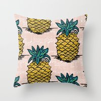 pinapple Throw Pillows featuring Large pina palatern by Jennie Ablanedo