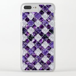 Oriental Pattern with Amethyst Clusters and silver Clear iPhone Case