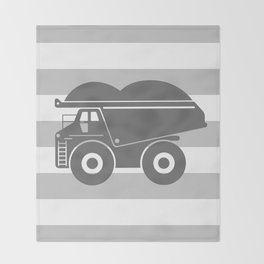 Gray Dump Truck Throw Blanket