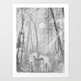 Shadow dogs at night Art Print