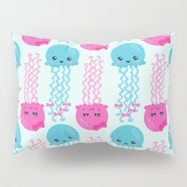 Pattern Of Jellyfishes, Sea Life - Pink Blue Pillow Sham