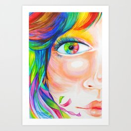 rainbow haired Art Print