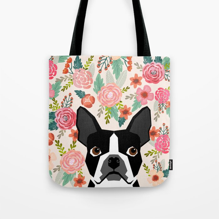 Boston Terrier florals flowers boho cute black and white boston terrier puppy dog pet portraits  Tote Bag