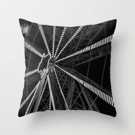 Ferris Wheel - Black and white fine art motion blur Throw Pillow