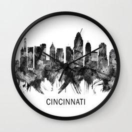 Cincinnati Ohio Skyline BW Wall Clock