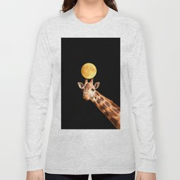 Giraffe And The Moon On A Black Background #decor #buyart #society6 Long Sleeve T-shirt